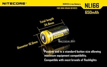 Εικόνα της Επαναφορτιζόμενη μπαταρία Nitecore Li-on RCR123A 650mAh