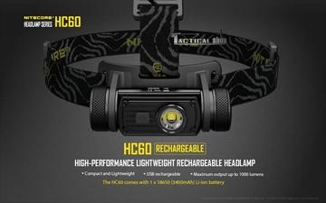 Εικόνα της Επαναφορτιζόμενος USB Φακός Κεφαλής Led Nitecore Headlamp HC60 1000 Lumens!!!