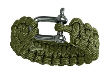 Εικόνα της Βραχιόλι Επιβίωσης Mil-Tec Paracord Bracelet Metal Clip 22mm Λαδί