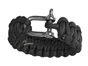 Εικόνα της Βραχιόλι Επιβίωσης Mil-Tec Paracord Bracelet Metal Clip 22mm Μαύρο