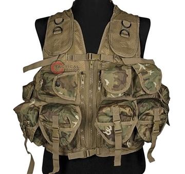 Εικόνα της Γιλέκο Μάχης Mil-Tec Vest Tactical 9 Pockets Woodland Arid