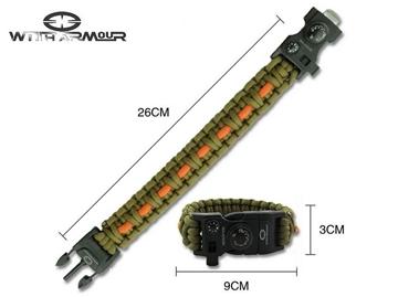 Εικόνα της Paracord Survival Bracelet With Armour Χακί
